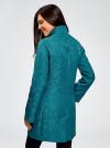 Пальто прямого силуэта из фактурной ткани oodji #SECTION_NAME# (бирюзовый), 10104043/43312/6C00N - вид 3