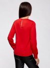 Блузка с вырезом-капелькой и металлическим декором oodji #SECTION_NAME# (красный), 21400396/38580/4500N - вид 3