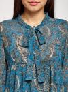 Платье шифоновое с асимметричным низом oodji для женщины (бирюзовый), 11913032/38375/7355E - вид 4