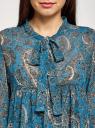 Платье шифоновое с асимметричным низом oodji #SECTION_NAME# (бирюзовый), 11913032/38375/7355E - вид 4