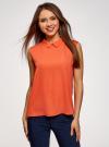 Топ базовый из струящейся ткани oodji для женщины (оранжевый), 14911006-2B/43414/5500N - вид 2