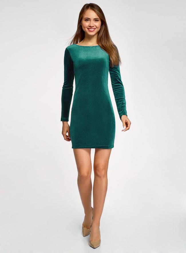 Платье бархатное с V-образным вырезом сзади oodji #SECTION_NAME# (зеленый), 14000165-4/48621/6E00N