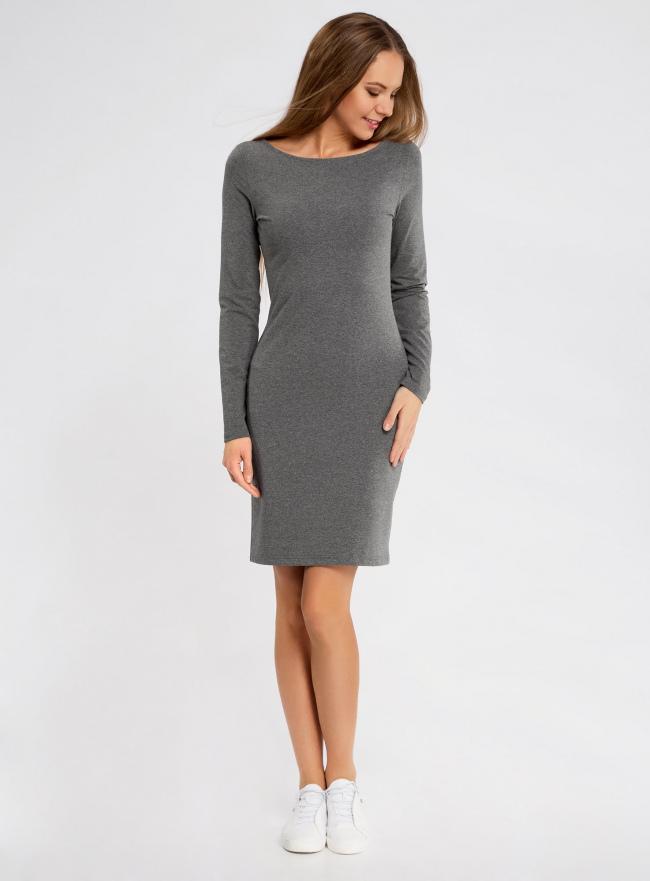 Платье трикотажное облегающего силуэта oodji для женщины (серый), 14001183B/46148/2500M