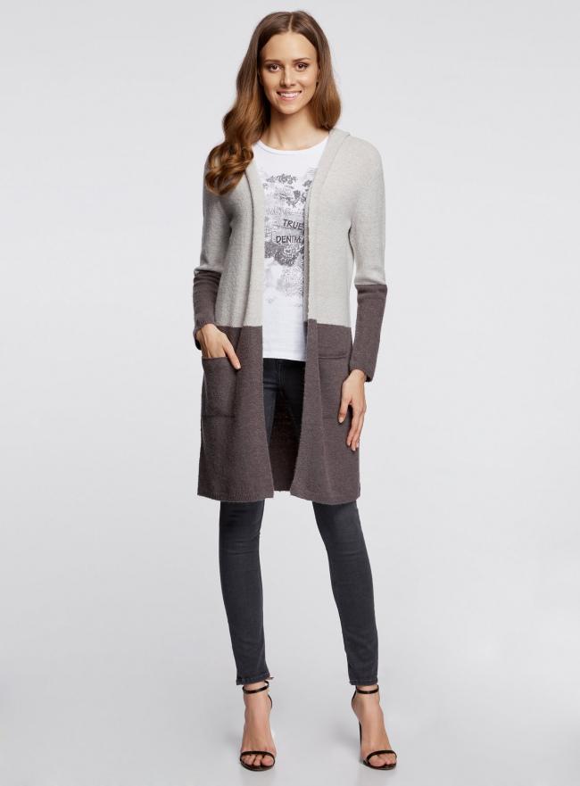 Кардиган двухцветный с капюшоном и карманами oodji #SECTION_NAME# (серый), 73207204/45963/2520B