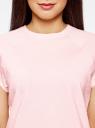 Футболка базовая свободного кроя oodji для женщины (розовый), 14707001B/46154/4000N