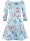 Платье трикотажное принтованное oodji #SECTION_NAME# (синий), 14001150-3/33038/6519F