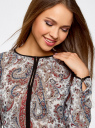 Блузка из струящейся ткани с контрастной отделкой oodji #SECTION_NAME# (разноцветный), 11411059-2/38375/3045E - вид 4