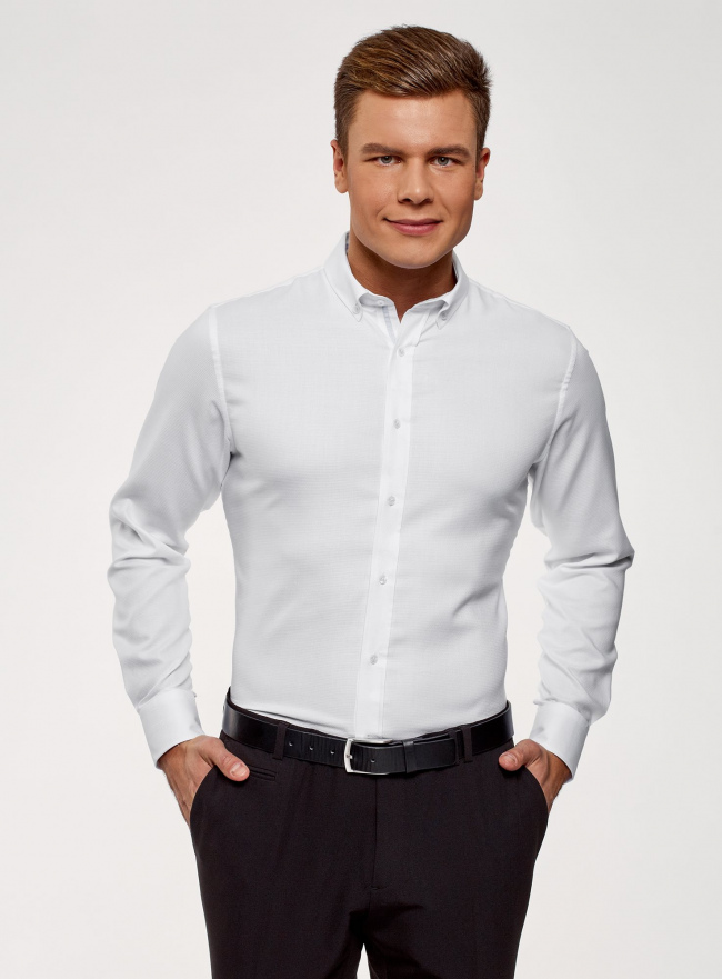 Рубашка приталенная из фактурной ткани oodji для мужчины (белый), 3B110015M/46246N/1070B