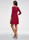 Платье трикотажное приталенное oodji #SECTION_NAME# (красный), 14011005-4/47420/4910P - вид 3