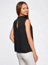 Блузка базовая без рукавов с воротником oodji #SECTION_NAME# (черный), 11411084B/43414/2900N - вид 3