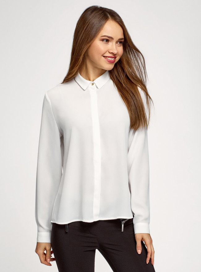 Блузка базовая из струящейся ткани oodji для женщины (белый), 11400368-9B/36215/1200N