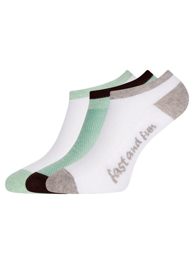 Комплект из трех пар укороченных носков oodji #SECTION_NAME# (разноцветный), 57102605T3/48022/18