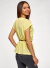 Блузка из вискозы с пояском oodji #SECTION_NAME# (желтый), 11400345-5B/48756/5200N - вид 3
