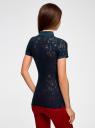 Поло из фактурной ткани с вышивкой oodji для женщины (синий), 19301006/46656/7900O