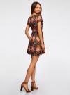 Платье принтованное из вискозы oodji для женщины (разноцветный), 11900191/26346/2959E - вид 3