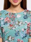 Платье из фактурной ткани прямого силуэта oodji #SECTION_NAME# (зеленый), 24001110-3/42316/6519F - вид 4