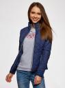 Куртка стеганая с воротником-стойкой oodji #SECTION_NAME# (синий), 10204051/33744/7900N - вид 2