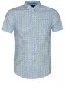 Рубашка принтованная с коротким рукавом oodji #SECTION_NAME# (синий), 3L410092M/19370N/7579F