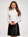 Водолазка хлопковая с молнией по горловине oodji для женщины (белый), 15E11012/48959/1200N