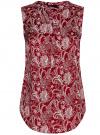 Блузка принтованная с V-образным вырезом oodji #SECTION_NAME# (красный), 21400388-3/35542/4912E - вид 6