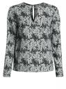 Блузка с вырезом-капелькой и металлическим декором oodji #SECTION_NAME# (зеленый), 21400396/38580/6912O