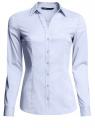 Рубашка хлопковая с V-образным вырезом oodji для женщины (синий), 21402211/33431/7000N