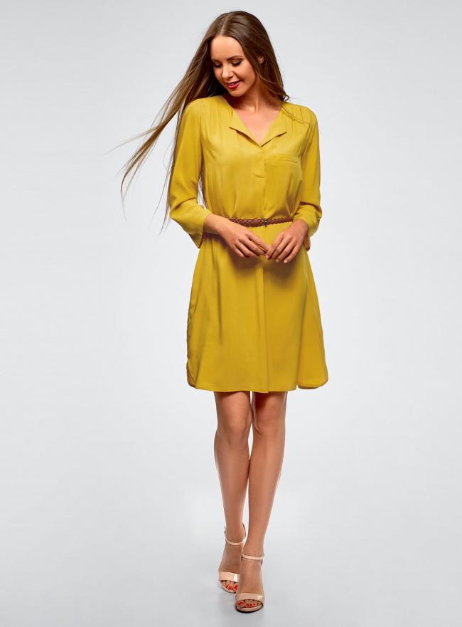 Платье вискозное с ремнем oodji для женщины (желтый), 11900180B/42540/5700N