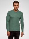 Пуловер базовый с V-образным вырезом oodji #SECTION_NAME# (зеленый), 4B212007M-1/34390N/6D00M - вид 2