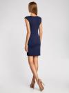 Платье трикотажное облегающего силуэта oodji для женщины (синий), 14008014/16300/7900N - вид 3