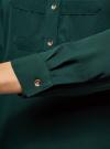 Блузка шифоновая в стиле милитари oodji #SECTION_NAME# (зеленый), 11411062/43291/6E00N - вид 5