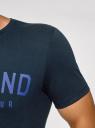 Футболка хлопковая с надписью oodji для мужчины (синий), 5L611065I/44135N/7975P