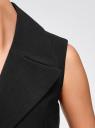 Жилет удлиненный с объемными лацканами oodji для женщины (черный), 22305003/38095/2900N