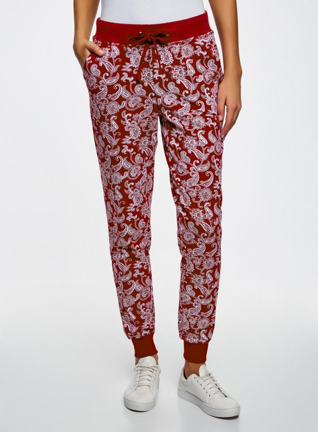 Брюки трикотажные на завязках oodji для женщины (красный), 16701042-1/46919/4920E