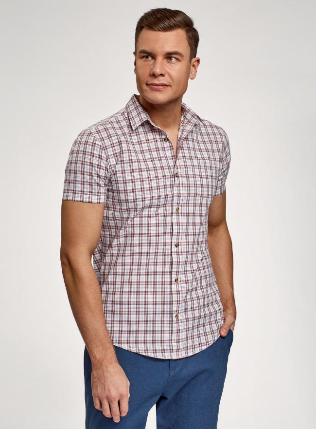 Рубашка приталенная с коротким рукавом oodji #SECTION_NAME# (разноцветный), 3L410071M/44181N/1031C