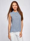 Блузка базовая без рукавов с воротником oodji #SECTION_NAME# (синий), 11411084B/43414/7029G - вид 2