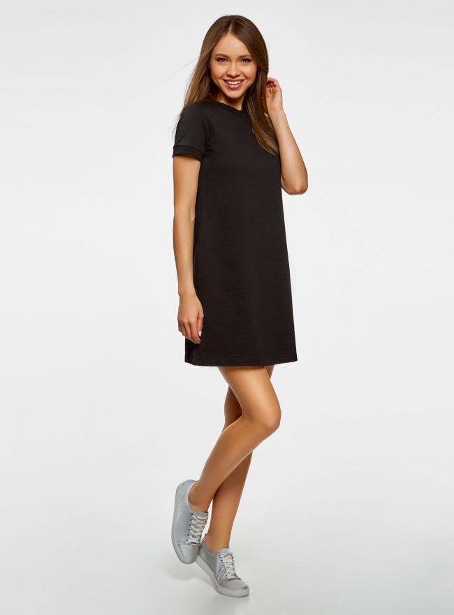 Платье трикотажное свободного силуэта oodji для женщины (черный), 14000162B/47481/2900N