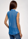 Топ из струящейся ткани с рубашечным воротником oodji для женщины (синий), 14903001B/42816/7501N - вид 3