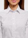 Рубашка приталенная принтованная oodji #SECTION_NAME# (белый), 21402212/14885/1045G - вид 4