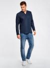 Рубашка льняная без воротника oodji #SECTION_NAME# (синий), 3B320002M/21155N/7900N - вид 6