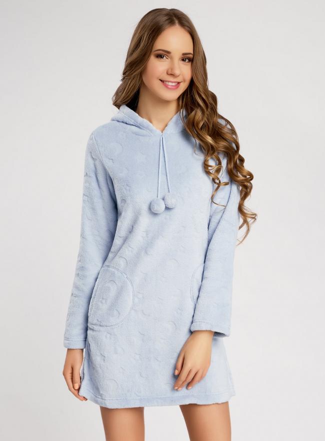 Платье домашнее с капюшоном oodji для женщины (синий), 59801004-2/38319/7000O