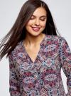 Блузка прямого силуэта с V-образным вырезом oodji #SECTION_NAME# (разноцветный), 21400394-3M/24681/2949E - вид 4