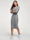 Платье приталенное с надписью oodji #SECTION_NAME# (серый), 14011059/48037/2329Z - вид 6