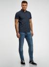 Рубашка хлопковая с коротким рукавом oodji для мужчины (синий), 3L410131M/48244N/7929E - вид 6