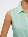 Рубашка базовая без рукавов oodji #SECTION_NAME# (бирюзовый), 11405063-6/45510/7300N - вид 5