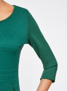 Платье трикотажное с рукавом 3/4 oodji #SECTION_NAME# (зеленый), 24001100-3/45284/6E00N - вид 5
