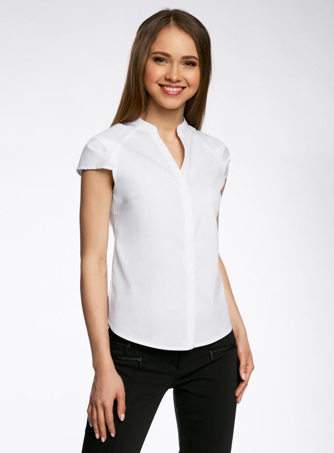 Рубашка хлопковая с коротким рукавом oodji для женщины (белый), 11403196-2/18193/1000N