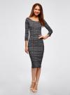 Платье облегающее с вырезом-лодочкой oodji #SECTION_NAME# (черный), 14017001-5B/46944/2912N - вид 2
