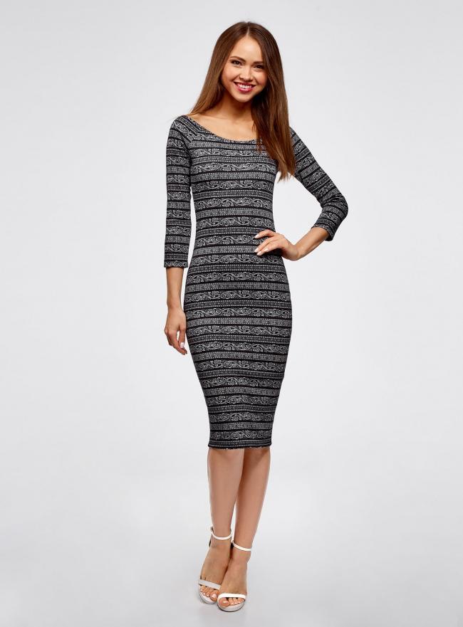 Платье облегающее с вырезом-лодочкой oodji #SECTION_NAME# (черный), 14017001-5B/46944/2912N