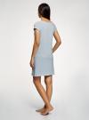 Платье с аппликацией и V-образным вырезом oodji #SECTION_NAME# (синий), 59801018-2/44135N/7029P - вид 3