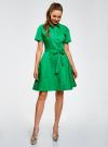 Платье-рубашка с поясом oodji #SECTION_NAME# (зеленый), 21900311/42358/6D00N - вид 2